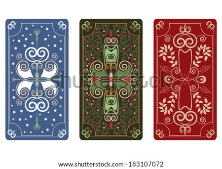 Vector ornament for Tarot cards or playing cards - stock vector
