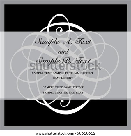 Vector ornament frame with sample text. Perfect as invitation or announcement. All pieces are separate. Easy to change colors. - stock vector