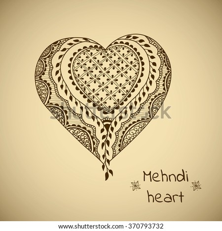 Vector ornament in indian style. Mehndi ornamental heart. Hand drawn ethnic pattern. Decorative element for henna design. Valentines heart in style - stock vector
