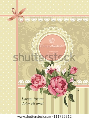 Vector ornament with bow and roses in vintage style. Elegant Vintage Greeting card design. Happy Birthday vector illustration with flowers. - stock vector