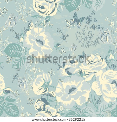 Vector ornament with butterflies and roses in vintage style. Wallpaper, background. Seamless texture with flowers. Endless floral pattern. Background with flowers - stock vector
