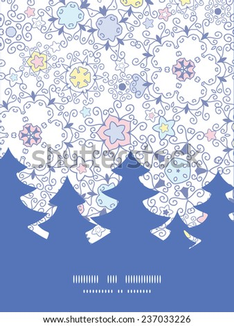 Vector ornamental abstract swirls Christmas tree silhouette pattern frame card template - stock vector