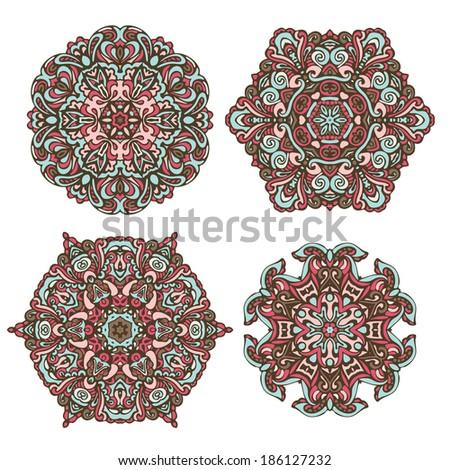 vector ornamental fractal kaleidoscopic designs - stock vector