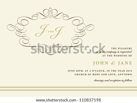 Vector Ornamental Invitation Frame. Easy to edit. Perfect for invitations or announcements.