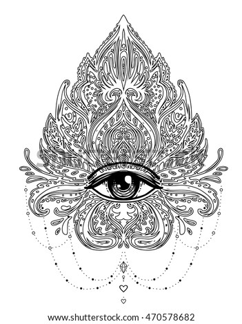 Vector Ornamental Lotus Flower Allseeing Eye Stock Vector