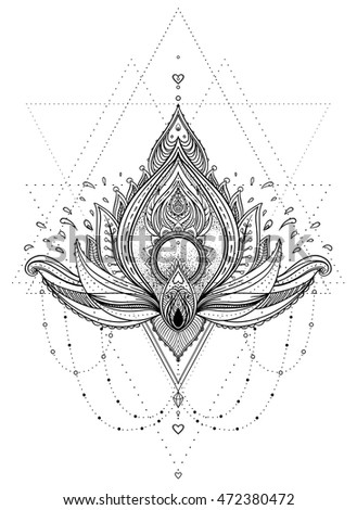 Vector ornamental Lotus flower, ethnic art, patterned Indian paisley. Hand drawn illustration. Invitation element. Tattoo, astrology, alchemy, boho and magic symbol. Coloring book for kids and adults.