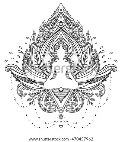 Vector ornamental lotus flower silhouette buddha stock vector vector ornamental lotus flower with silhouette of buddha ethnic art indian paisley hand mightylinksfo Choice Image