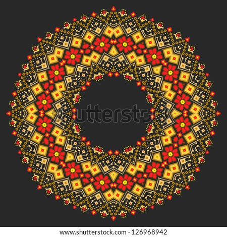 Vector ornamental round lace with folk elements. Ukrainian style. Russian or ukraine traditional ornament. - stock vector