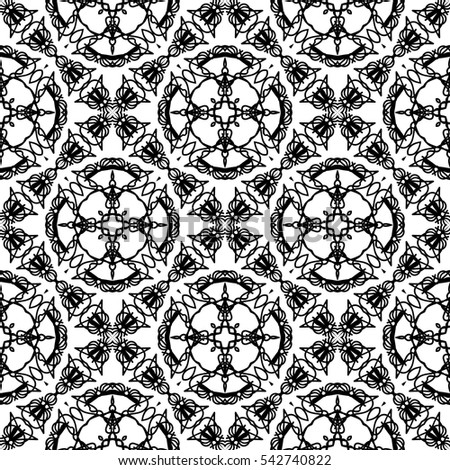 Vector Ornamental Seamless Line Pattern. Endless Texture. Oriental Geometric Ornament