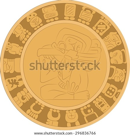 Vector ornamental stone mural in the style of ancient Maya