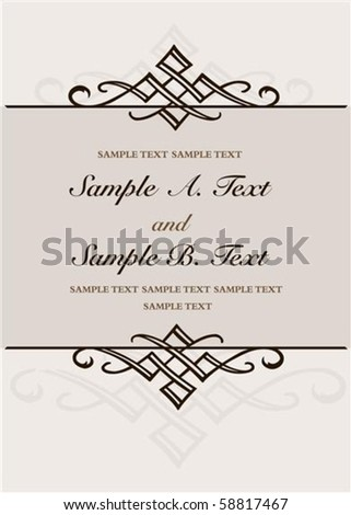 Vector ornaments and frame with sample text. Perfect as invitation or announcement. Pattern is included as seamless swatch. All pieces are separate. Easy to change colors. - stock vector