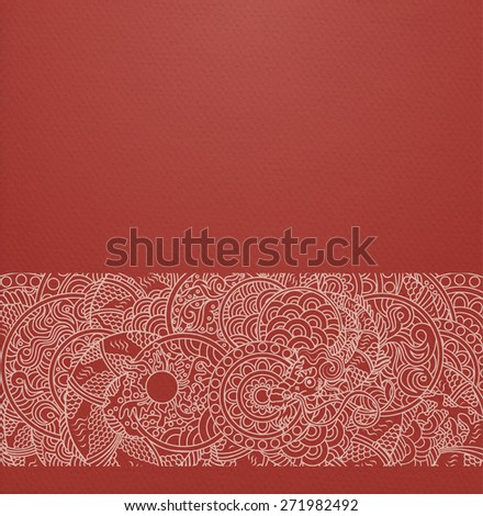 Vector ornate background with ornamental border - red paper with traditional japanese ornament with dragon and pearl - stock vector