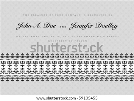 Vector ornate border with sample text and borders. Perfect as invitation or announcement. Pattern is included as seamless swatch. All pieces are separate. Easy to change colors and edit. - stock vector