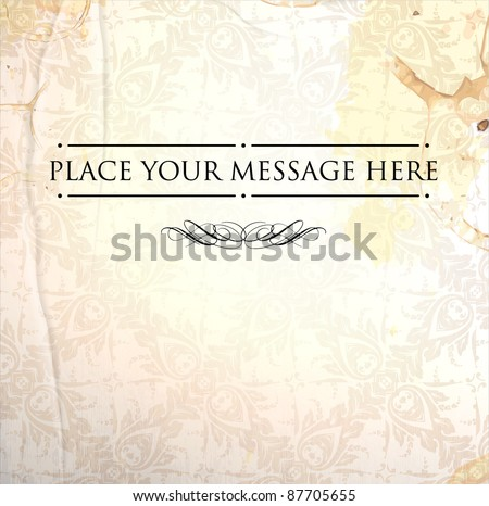 Vector ornate damask background. Easy to edit. Perfect for invitations or announcements. - stock vector