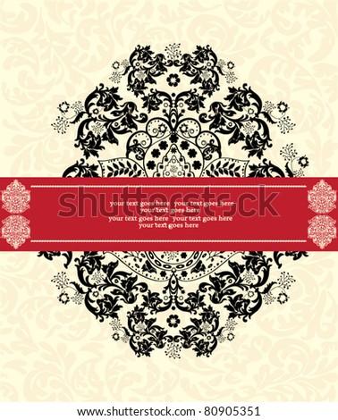 vector ornate frame or invitation card - stock vector