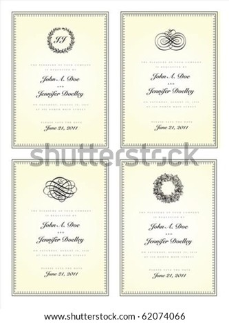 Vector ornate frame set with decorative ornaments. Perfect for invitations and ornate backgrounds. - stock vector
