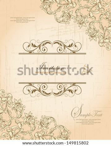 vector ornate frame with floral elements - stock vector
