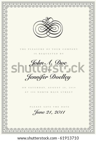 Vector ornate frame with sample text and borders. Perfect as invitation or announcement. All pieces are separate. Easy to change colors and edit. - stock vector