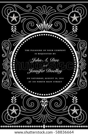 Vector ornate frame with sample text. Perfect as invitation or announcement. All pieces are separate. Easy to change colors. - stock vector