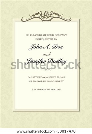 Vector ornate frame with sample text. Perfect as invitation or announcement. Pattern is included as seamless swatch. All pieces are separate. Easy to change colors. - stock vector