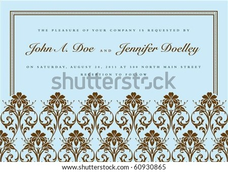 Vector ornate frame with sample text. Perfect as invitations or announcements. Pattern is included as seamless swatch. All pieces are separate. Easy to change colors and edit. - stock vector