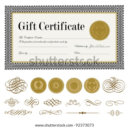 Vector Ornate Gift Certificate and Ornaments. Easy to edit. Perfect for certificates and awards.