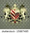 Vector ornate heraldic shield - stock vector