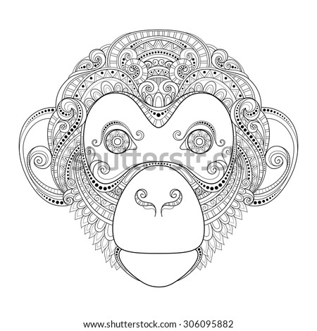 Vector Ornate Monkey Head. Patterned Tribal Monochrome Design. Symbol of the Year 2016 by Chinese Horoscope - stock vector