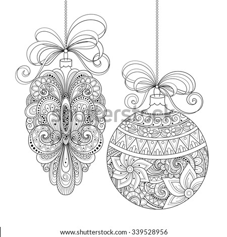 Vector Ornate Monochrome Christmas Decorations. Patterned Objects for Greeting Cards, Holiday Greetings. New Year and Christmas Template - stock vector