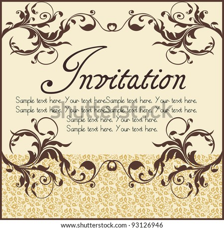 Vector ornate narrow frame with sample text and borders. Perfect as invitation or announcement. All pieces are separate. Easy to change colors and edit. - stock vector