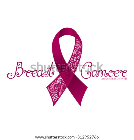 Vector Ornate Pink Ribbon of Breast Cancer on White Background with Decorative Lettering (Hand Written Inscription) - stock vector