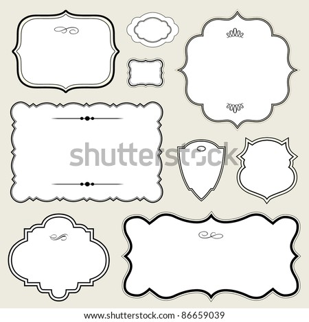 Vector Ornate Rounded Frame Set. Easy to edit. Perfect for invitations or announcements. - stock vector