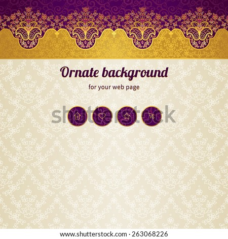 Vector ornate seamless border in Eastern style. Web page design template, web site design. Golden floral element, place for text. Easy to use, layered. Ornamental vintage frame. Traditional decor. - stock vector