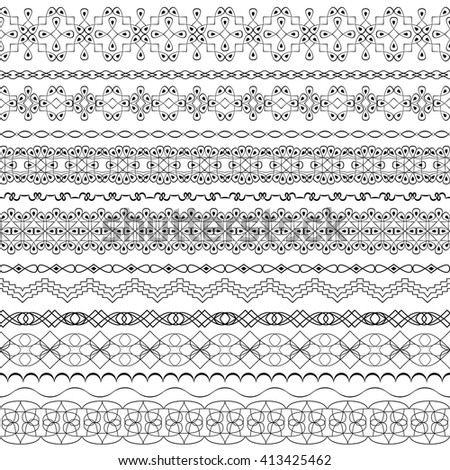 Vector ornate seamless borders in Eastern style.Line art vintage frame for invitations, birthday and greeting cards, certificate.