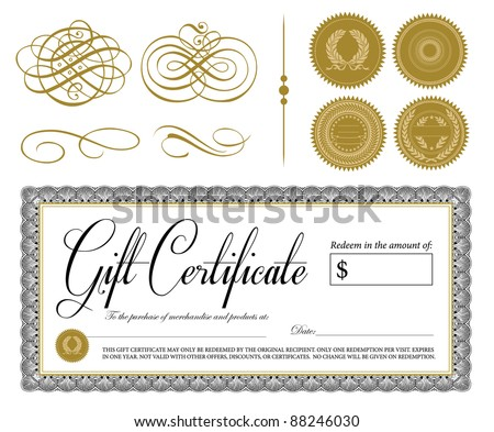 Vector Ornate Vintage Certificate and Ornaments. All pieces are separate and easy to edit. Perfect for gift certificates. - stock vector