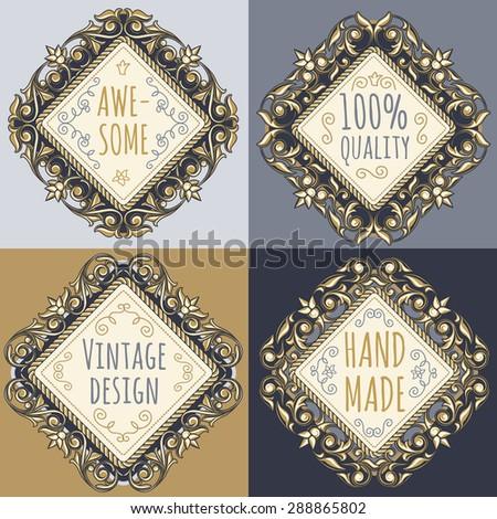 Vector ornate vintage emblem - stock vector