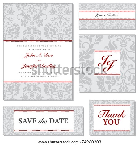 Vector Ornate Wedding Frame Set with Red Accents. Easy to edit. Perfect for invitations or announcements. - stock vector