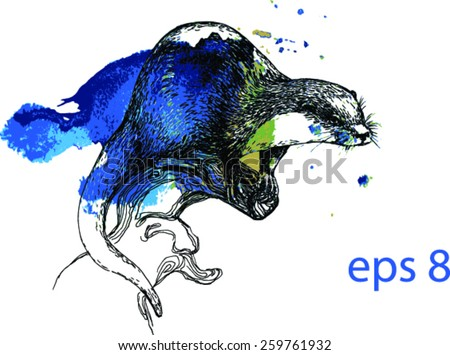Vector otter drawing on a blue green watercolor splash, isolated on white background. Fabric texture. Template for scrapbook.