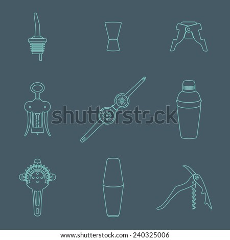 vector outline barman equipment icons set tools pour spout, jigger, plug, winged corkscrew, wine opener, squeezer, shaker, cocktail strainer on dark  - stock vector
