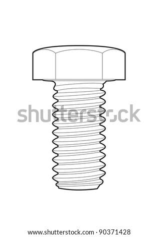 Vector outline bolt on white background - stock vector