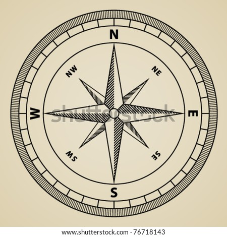 vector outline compass wind rose - stock vector