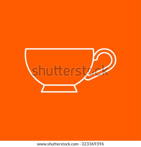 Vector outline cup for tea or coffee icon on color background