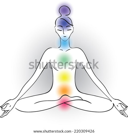 vector outline drawing of young woman practicing yoga and chakras - stock vector
