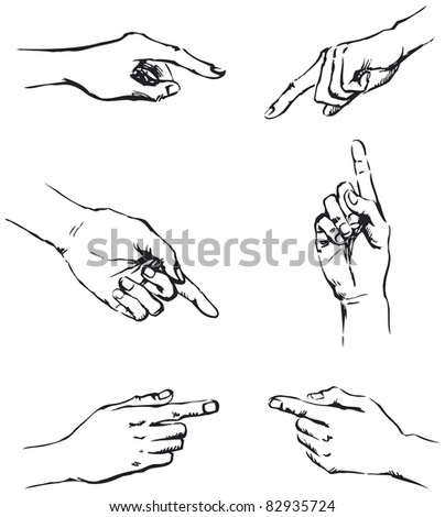 Vector outline. Figure gesticulating hands, pointing at something - stock vector
