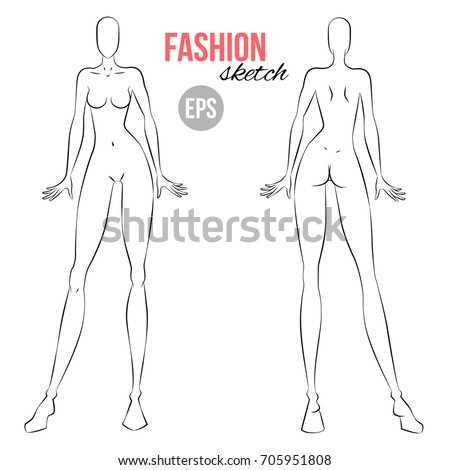 vector outline girl model template fashion stock vector