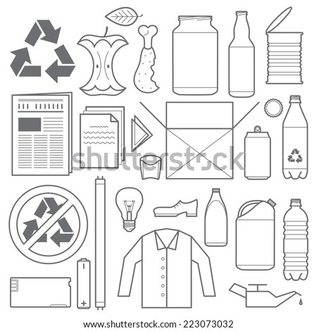 vector outline grey color recycling and various waste icons - stock vector