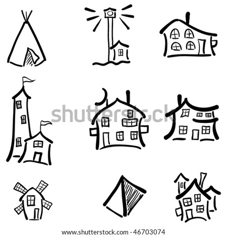 vector outline house icons set, buildings icon set for realty architectural design, building icon set for real estate design, funny houses - stock vector