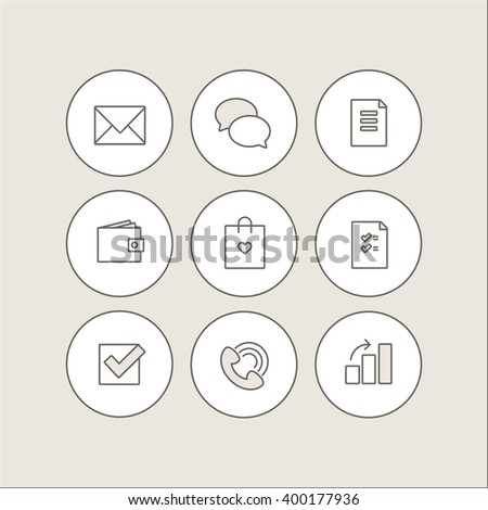 Vector outline icon set. Web, communication and business. - stock vector