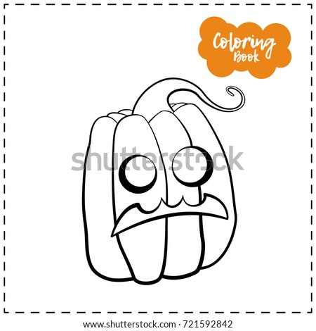 vector outline illustration of a pumpkin lantern for halloween with emotion on a white background - Halloween Pumpkin Outline