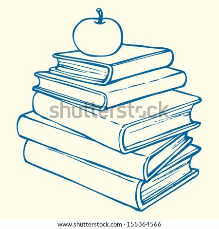 Vector outline illustration. Symbol of knowledge: an apple on top of a pile of books - stock vector